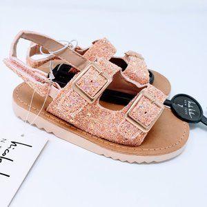 Nicole Miller Pink Sparkly Buckle Sandals